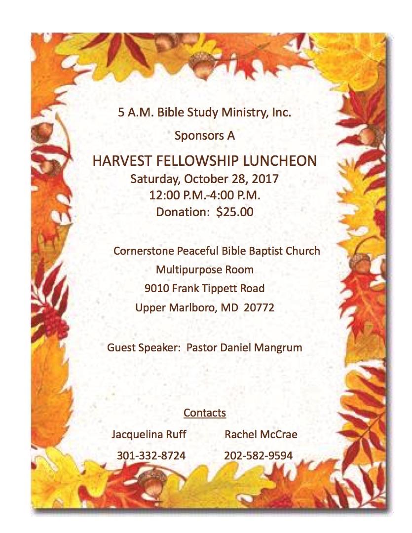 harvest fellowship luncheon  u2013 5 a m  bible study ministry